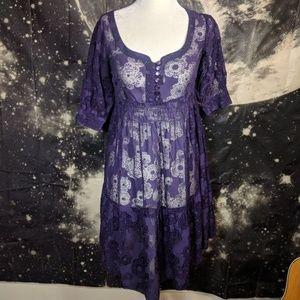 Anthropologie Maeve Plum Sheer Floral Dress